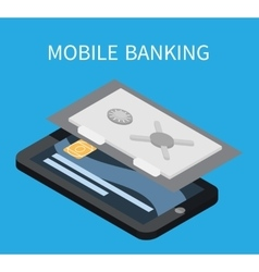 Mobile banking isometric smartphone and card vector image