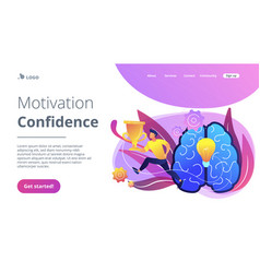 Motivation and confidence concept landing page vector