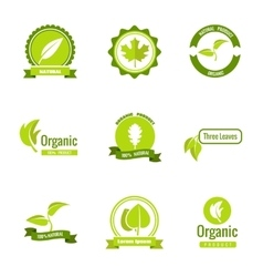 Natural eco and organic products logos vector image