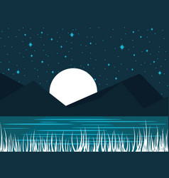 Night river landscape with a full moon midnight vector