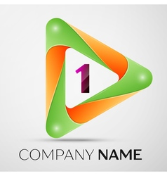 Number one logo symbol in the colorful triangle on vector
