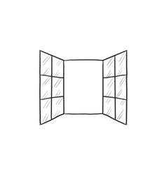 Open windows sketch icon vector image