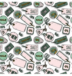pattern with sale labels vector image