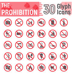 prohibition glyph icon set forbidden signs vector image
