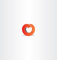 Red heart gradient logo symbol sign vector