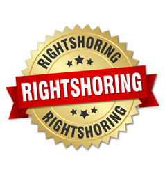 Rightshoring round isolated gold badge vector