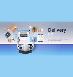 robot working at laptop online shopping express vector image