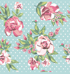 rose flowers seamless pattern in white polka dots vector image