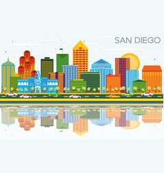 San diego california skyline with color buildings vector