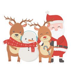 santa reindeers and snowman with scarf celebration vector image