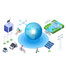save planet isometric alternative sources vector image