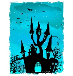 Scary halloween castle with copy space eps 10 vector