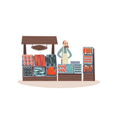 Seafood market with freshness fish on counter vector