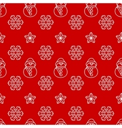 Seamless christmas pattern with snowman and vector image