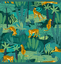seamless exotic pattern with tigers in jungle vector image