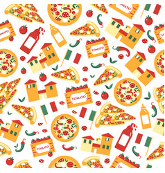 Seamless pattern of pizza slices with ingredients vector