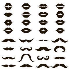 set black mustache and women s lips icons vector image