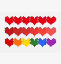 set color pieces puzzle of romantic three hearts vector image