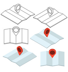Set map with pin in 3d style travel navigation vector
