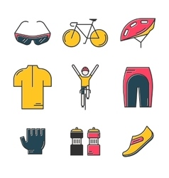 Set of 9 Bicycle Race modern colorful icons vector image