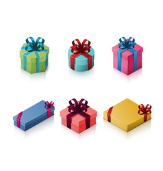 set of gift boxes with bows and ribbons isometric vector image