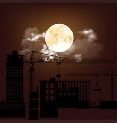 silhouetted construction site vector image