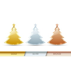 Simple golden silver and bronze Christmas trees vector image