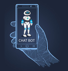 smiling friendly futuristic cyborg on smartphone vector image