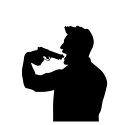 Suicide man silhouette vector