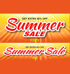summer sale template banners with sun rays vector image