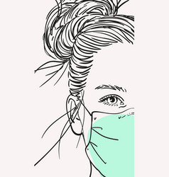Teenage girl in medical face mask with long hair vector