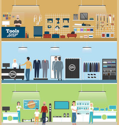 Tools shop electronics store and men clothing vector