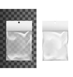 Transparent plastic pocket bag package mockup vector