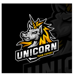 Unicorn esport gaming mascot logo template vector