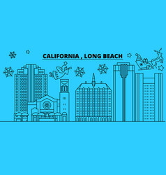 United states long beach winter holidays skyline vector