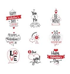 Valentines Day typographic design set on white vector image