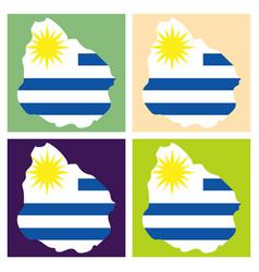 waving fabric flag map of uruguay vector image