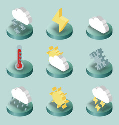 weather color isometric icons vector image