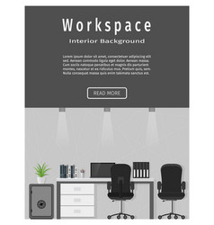 Web design banner of modern office workplace vector