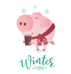 winter time banner cute pig in winter scarf vector image
