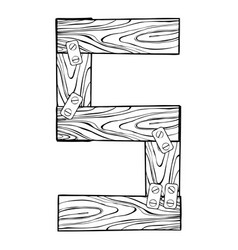 wooden number 5 engraving vector image