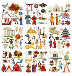 World history and countries culture traveling and vector