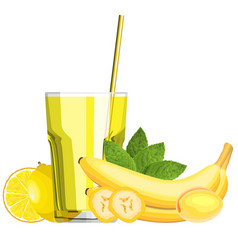 Yellow blended smoothie in a glass with vector
