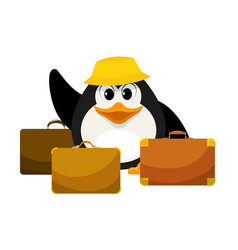 young penguin in a yellow panama with three vector image