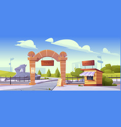 Zoo entrance with stone arch and cashier booth vector