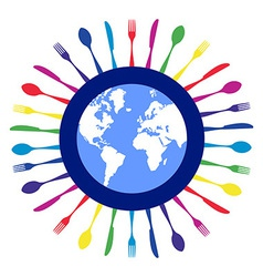 Colorful circle cutlery restaurant design vector image