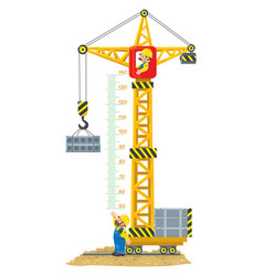 construction crane meter wall or height chart vector image vector image