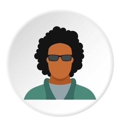 Male afro avatar icon flat style vector image vector image