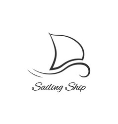 black sailing ship logo vector image vector image