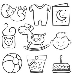 Doodle of baby with ball cake vector